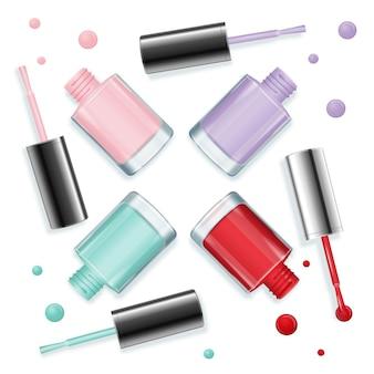 Otwórz słoiki z lakierem do paznokci z kroplami do manicure i pedicure w modnym kolorze tła. ilustracja wektorowa