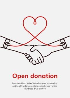 Otwórz szablon darowizny charytatywnej wektor plakat reklamowy kampanii oddawania krwi w minimalistycznym stylu