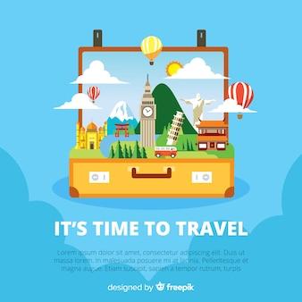 Otwórz tło podróży walizki