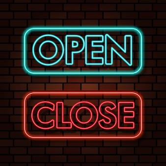 Otwórz zamknij znak neon tekst efekt świetlny ilustracja
