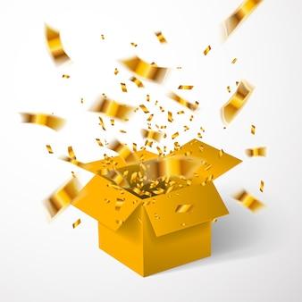 Otwórz złote pudełko i złote konfetti.