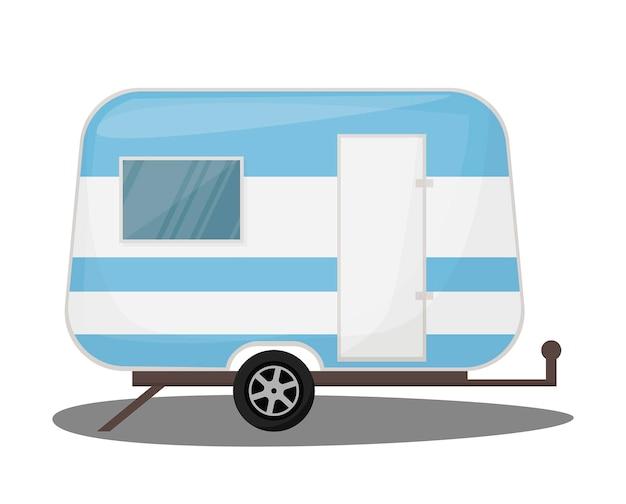 Ourism transportu pojazd rekreacyjny, mobile home, transport ikony samochodu podróży. na białym tle przyczepa kempingowa, ilustracja wektorowa samochodów.