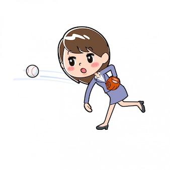Out line biznes kobieta rzucać piłkę