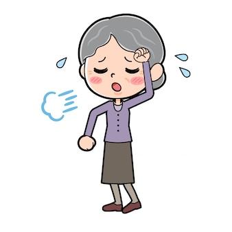 Out line purple nosi babcię zmęczoną