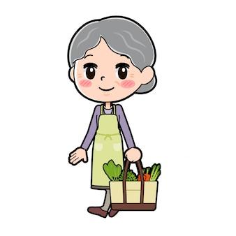 Out line purple noszą babcie gotować na zakupy