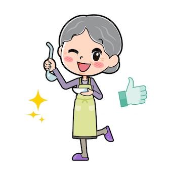 Out line purple ubiera babcię kucharz delicious