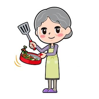 Out line purple ubierać babcię gotować zamieszać smażone