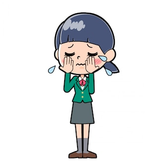 Out line school girl green_crying