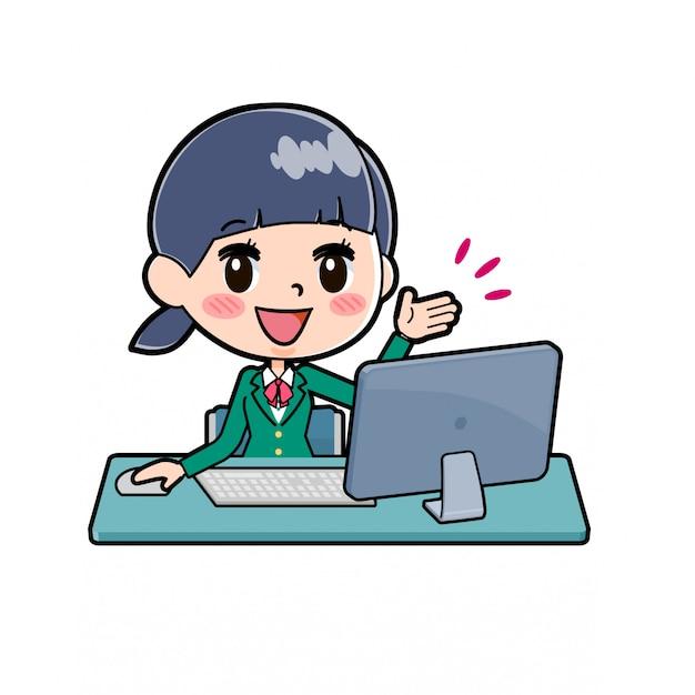 Out-line uczennica green_pc-desk