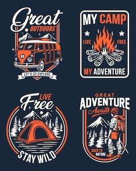 Outdoorowe odznaki kempingowe, etykiety kempingowe lub kolekcja graficznych koszulek kempingowych
