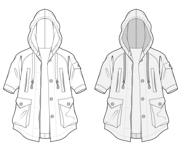 Outer jacket moda płaski szablon szkicu