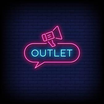 Outlet neonowe znaki styl tekst wektor
