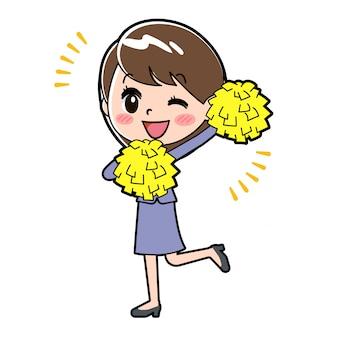 Outline biznes kobieta cheer wink