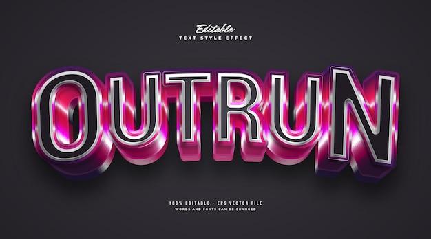 Outrun tekst w kolorowym stylu retro z efektem pogrubienia 3d. edytowalny efekt stylu tekstu