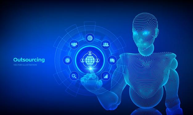 Outsourcing i hr. sieć społecznościowa i globalna koncepcja rekrutacji na wirtualnym ekranie. wireframed cyborg ręka dotykając interfejs cyfrowy.