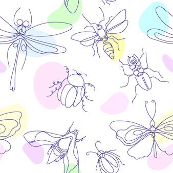 Owad elegancki bee bug ćma motyl eamless wzór szkic sztuki linii