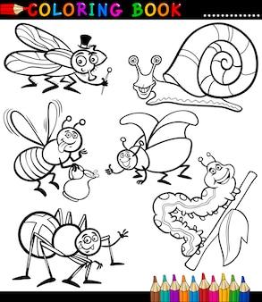 Owady i robaki dla coloring book