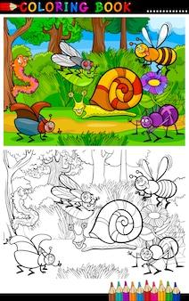 Owady lub robaki z kreskówek dla kolorowanka