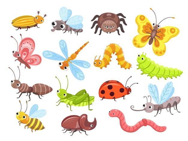 Owady z kreskówek. mucha pluskwa, słodki motyl i chrząszcz.