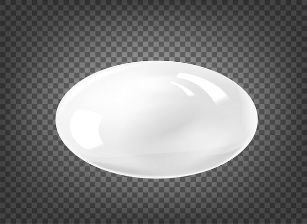 Owalna biała perła na białym na czarnym przezroczystym tle.
