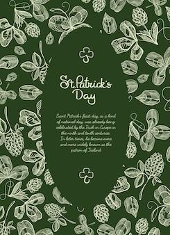 Owalna rama szkicu kartkę z życzeniami z wieloma gałęziami chmielu, kwiatem i pozdrowieniami z tradycyjnym św. dzień patryka