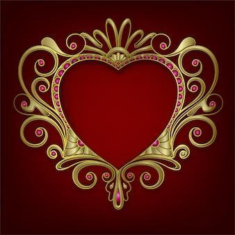 Owalna ramka ślubna ze złotej ramki z narożną linią kwiatową