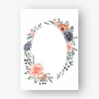 Owalna ramka z kwiatami akwarelowymi granatowymi i brzoskwiniowymi