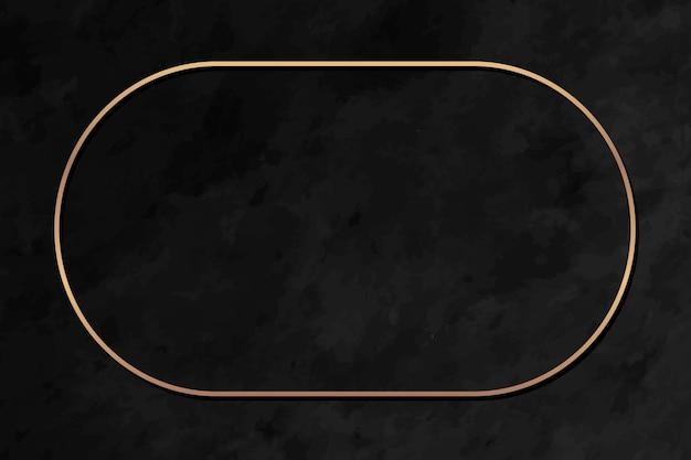 Owalna złota rama na czarnym marmurowym tle wektoru