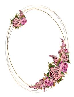 Owalna złota rama z różowe kwiaty akwarela.