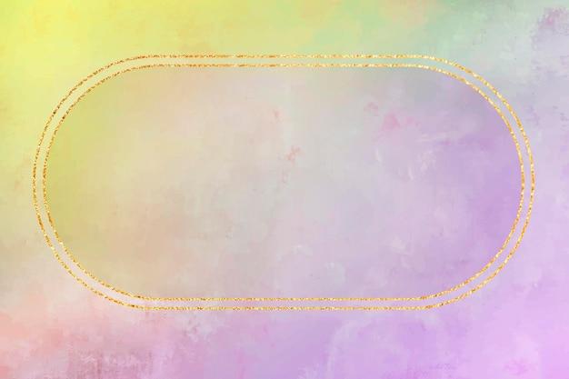 Owalna złota ramka na fioletowym tle