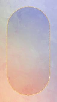 Owalna złota ramka na pomarańczowym i fioletowym wektorze tła