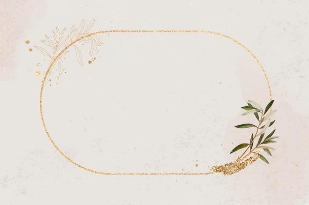 Owalna złota ramka z gałązką oliwną