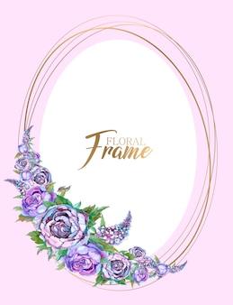 Owalna złota ramka z girlandą z kwiatów. zaproszenie na ślub