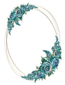 Owalna złota ramka z turkusowymi akwarelowymi kwiatami.