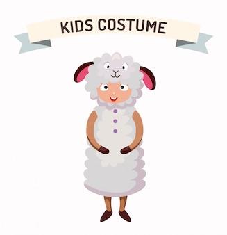 Owca dziecko kostium na białym tle ilustracji wektorowych