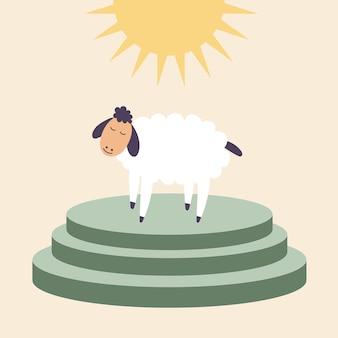 Owca stoi ofiary ołtarza przynosi ofiarę zwierzaka uwielbienie boga