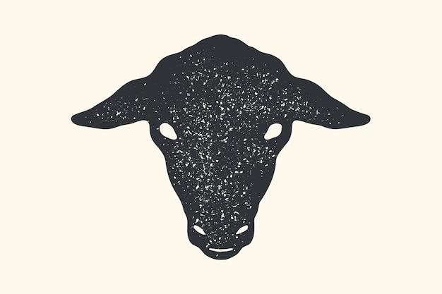 Owca. vintage nadruk retro, plakat, baner. czarno-biała sylwetka głowy owiec