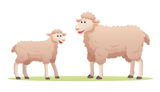 Owce z uroczą ilustracją kreskówkową cub