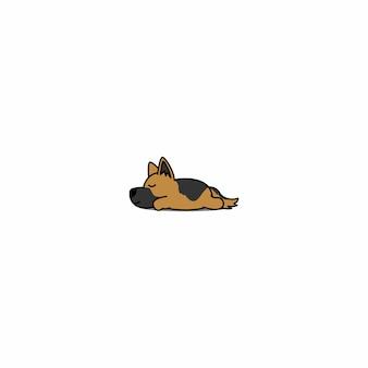 Owczarek niemiecki szczeniak śpi