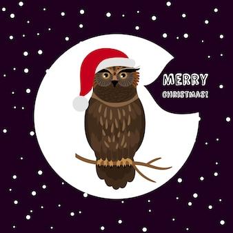 Owl with santa hat card kartka świąteczna