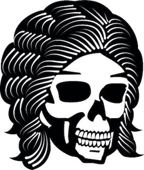 Owłosione ikon wektorowych cartoon czaszki