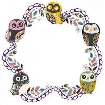 Owls cute ramki