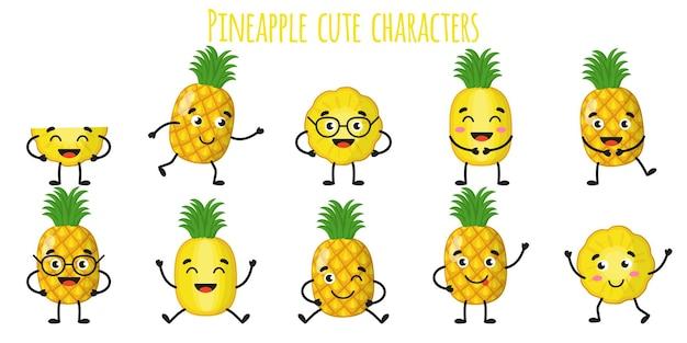 Owoc ananasa słodkie śmieszne wesołe postacie z różnymi pozami i emocjami