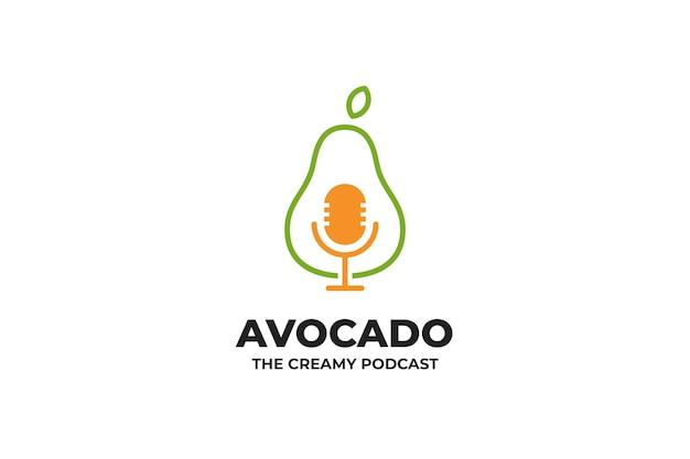 Owoc awokado podcast mikrofon logo
