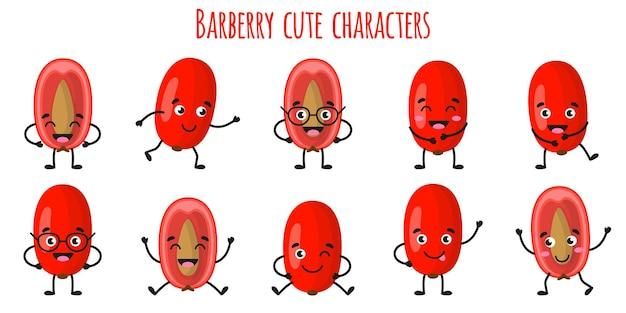 Owoc berberysu słodkie śmieszne wesołe postacie z różnymi pozami i emocjami. kolekcja naturalnych witamin przeciwutleniających detox żywności. ilustracja kreskówka na białym tle.