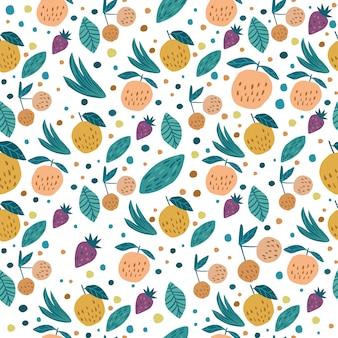 Owoc bezszwowy wzór. śmieszne słodkie owoce ogrodowe. wiśniowe jagody, jabłka, truskawka i liście