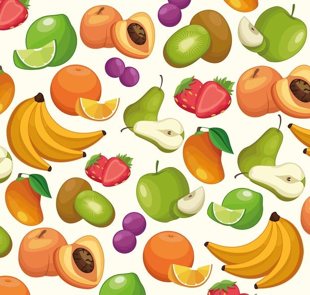 Owoc deseniują tło kreskówki