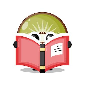 Owoc kiwi czytający książkę urocza maskotka postaci