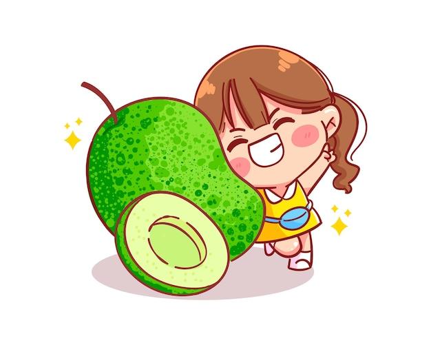 Owoc mango zielona świeża i urocza ilustracja kreskówka dziewczyna