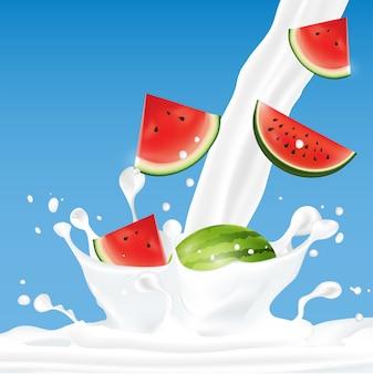Owoc Rozchlapać Mlekiem Premium Wektorów